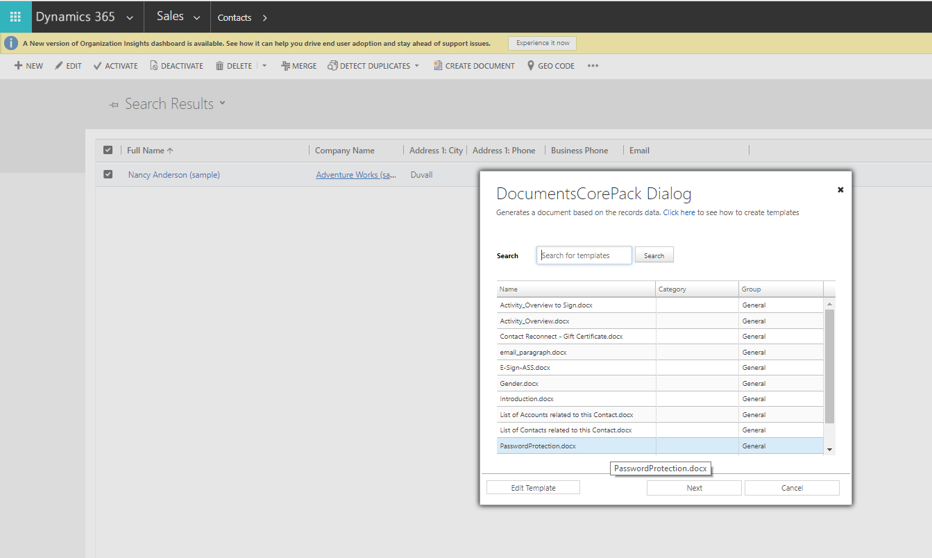 Entitiy Contacts in Dynamics 365