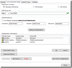 CRM Connection Setup dialog filled (example)