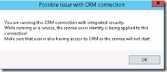 Possible issue with CRM connection