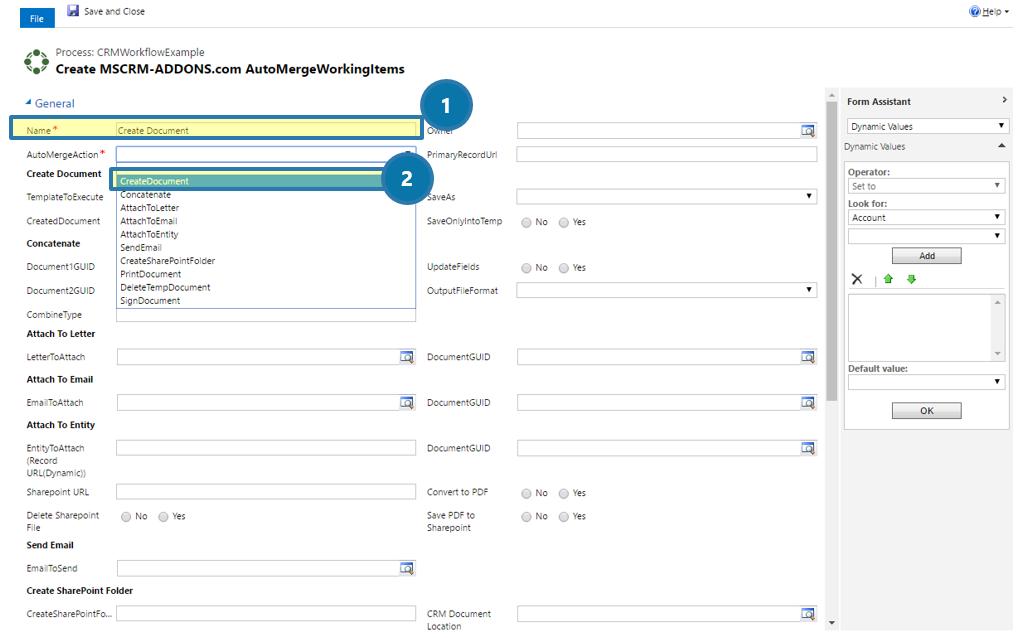 Create MSCRM-ADDONS.com AutoMergeWorkingItems: Create Document