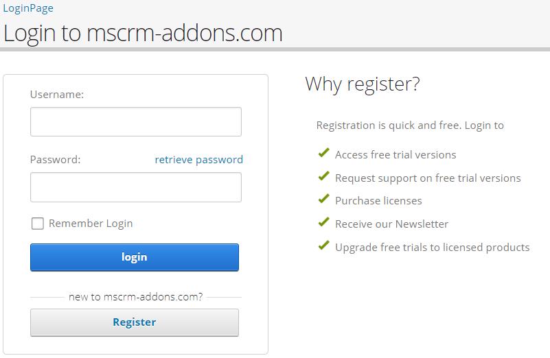 Login to mscrm-addons.com