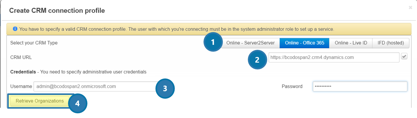 Create a CRM Connection Profile