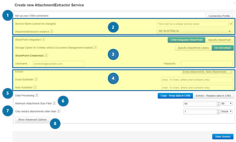Create new AttachmentExtractor Online Service