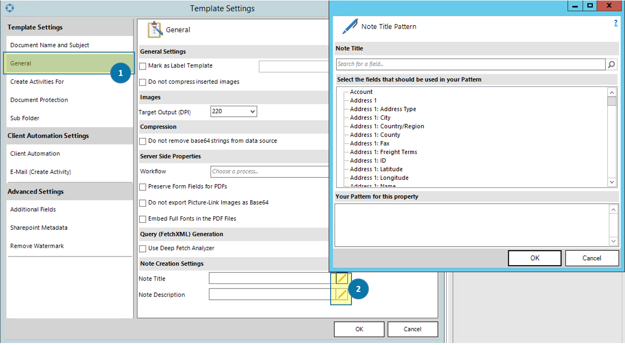 DCP Template Settings Dialog
