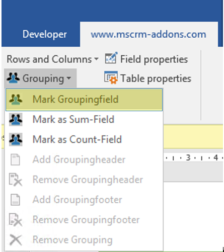Select grouping for (.docx) templates