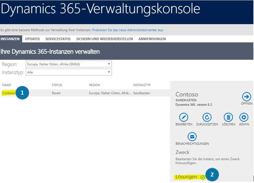 Dynamics 365 management console