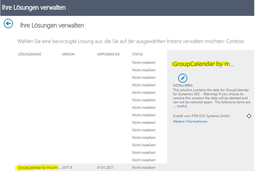 Installation status of GroupCalendar