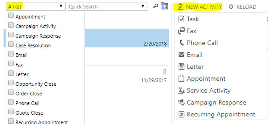 Activity type drop down without custom activity