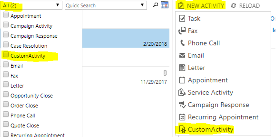 Activity type drop down with custom activity