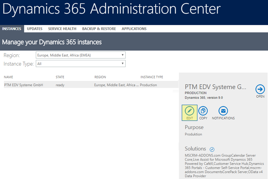 Edit your Dynamics 365 Online instance