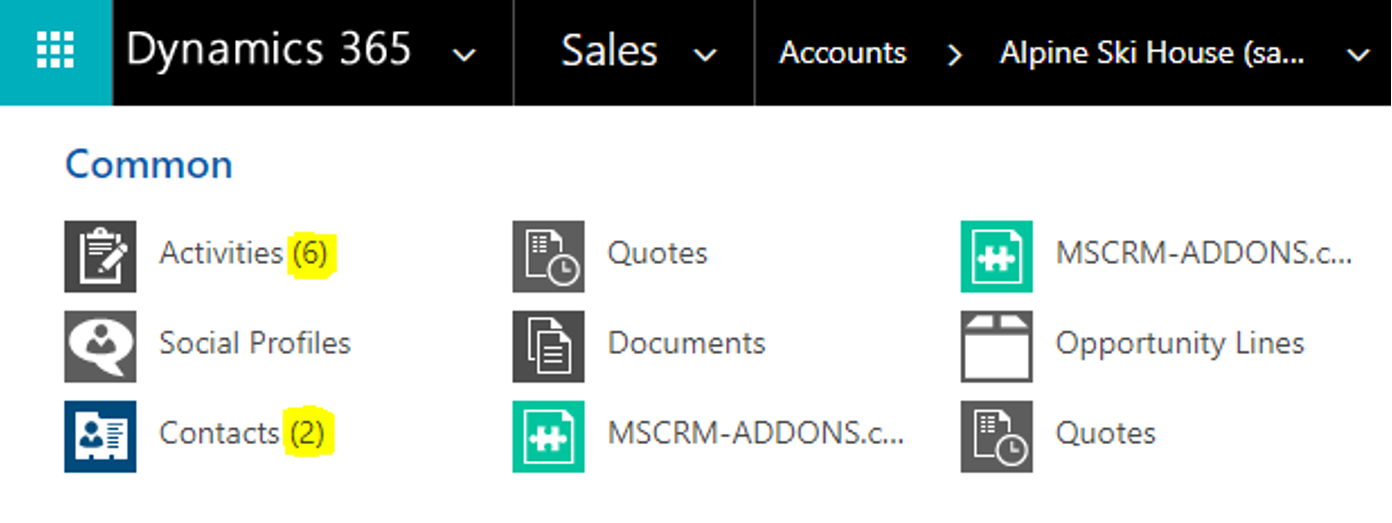 Dynamics 365 menu counting