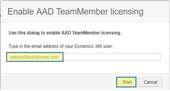Dialog for enabling AAD TeamMember licensing