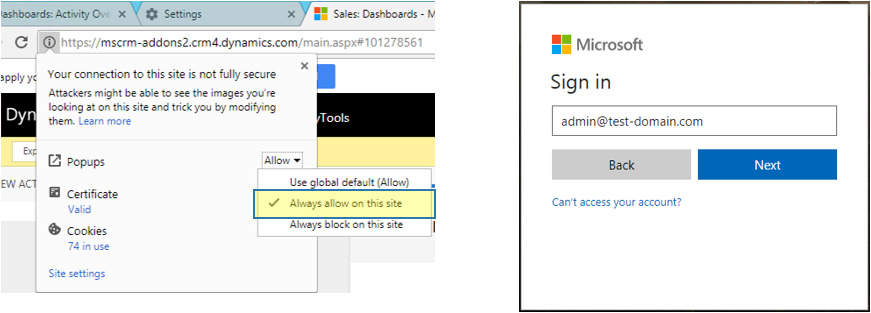 Disable popup blocker in Chrome and Login to Office 365