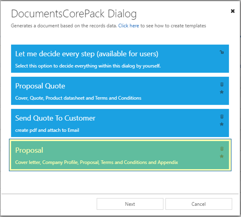 DCP Dialog - available one-click-actions