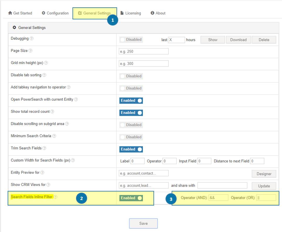 PowerSearch - Search Fields Inline Filter