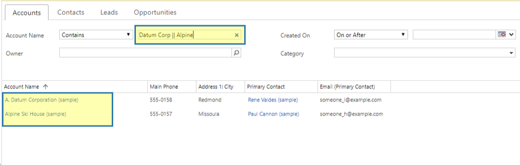 Example: Search Fields Inline Filter