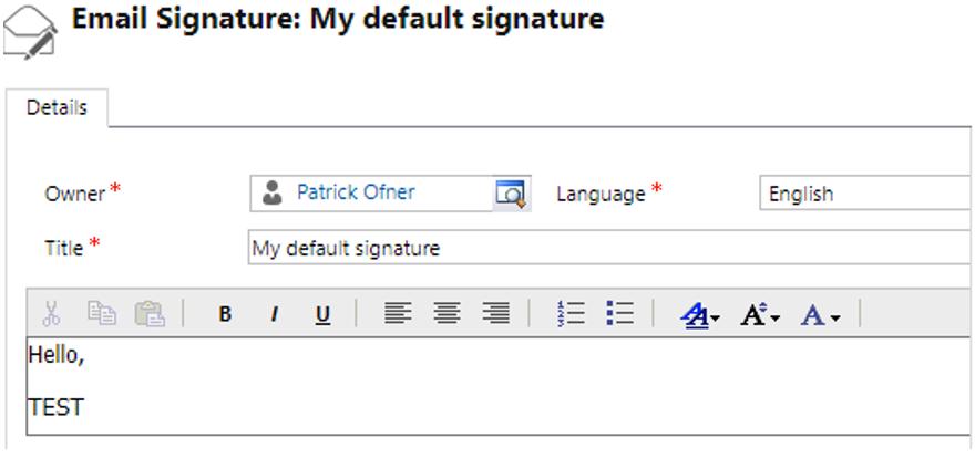 Default email signature