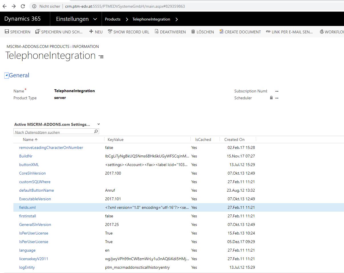 MSCRM-ADDONS.com Products TelephoneIntegration Settingskeys