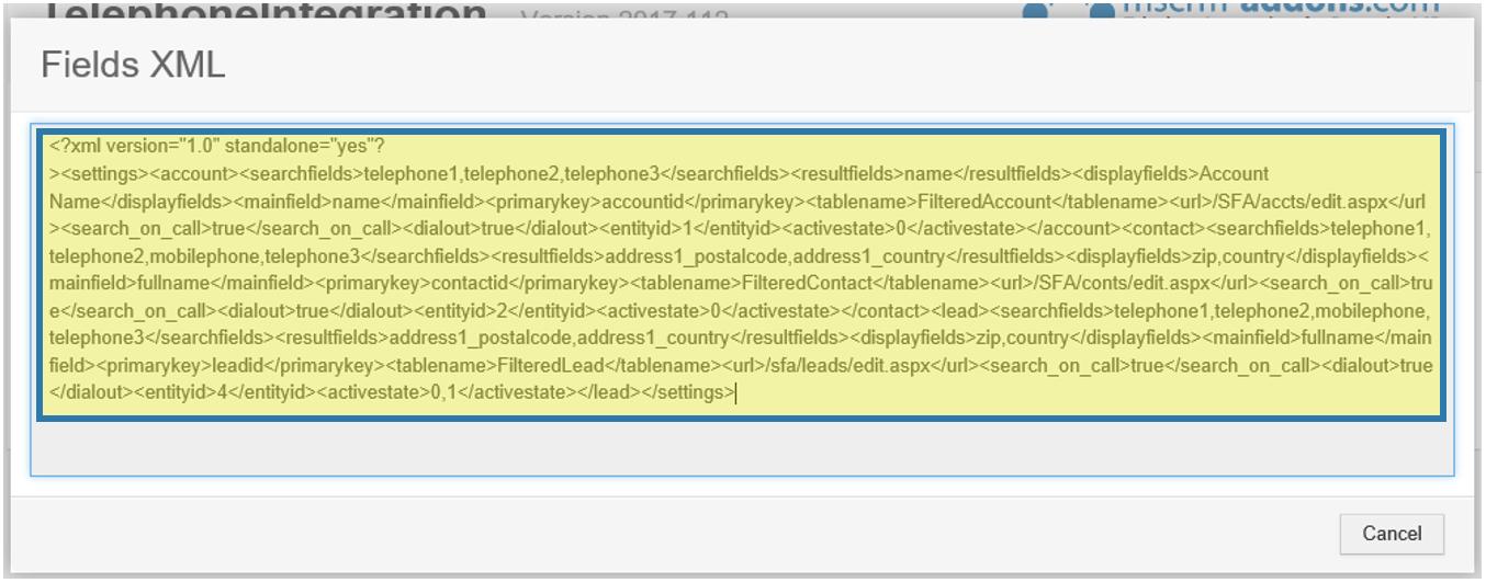 Fields XML