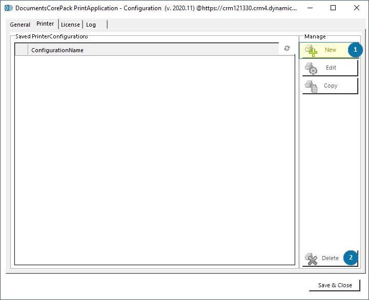 DCP Print Applikation Printer-tab