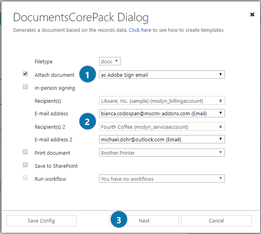 DCP Dialog - define how your document should be executed