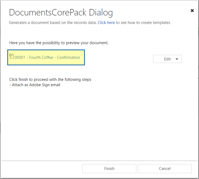 DCP Dialog - preview document