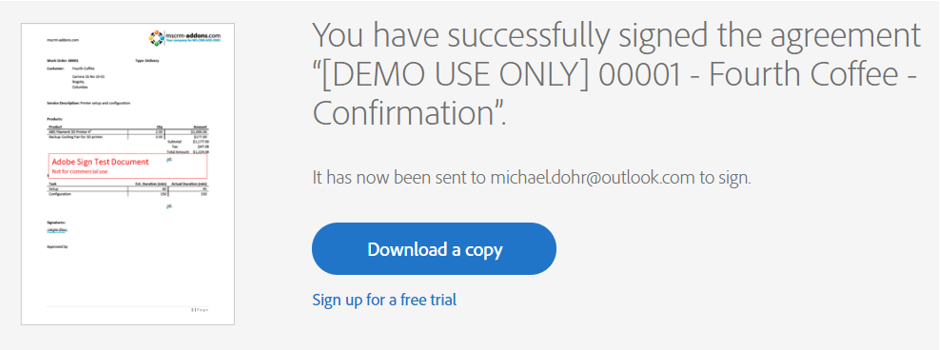 Document successfully signed - message