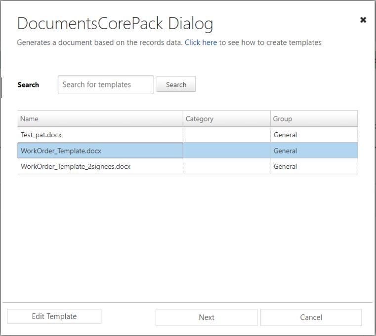 DCP Dialog – select template