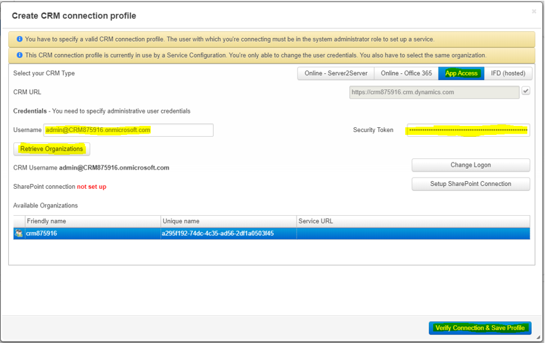 Create CRM connection profile