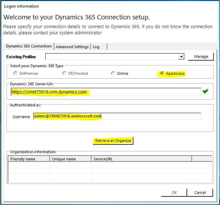 Specify your connection details to connect to Dynamics 365