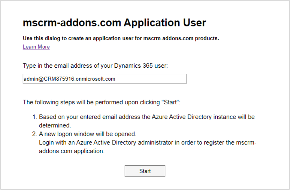 The Application User configuration page