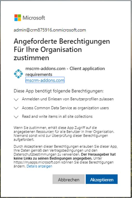 Register the mscrm-addons.com application