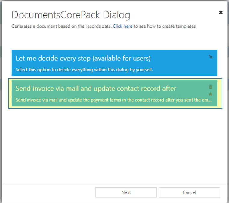 DCP dialog: Available One-Click-Actions