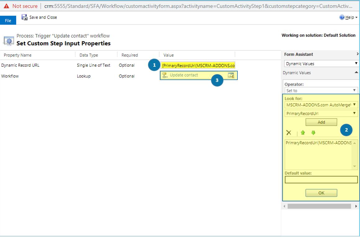 Set Custom Step Input Properties