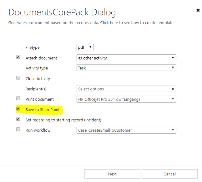 Enable save to SharePoint checkbox