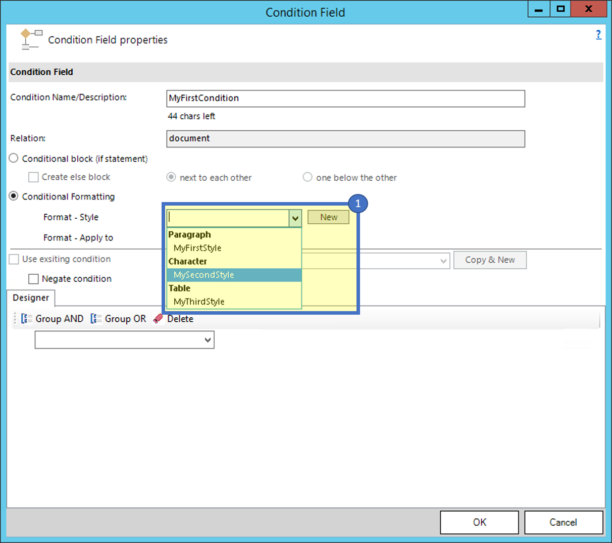 Condition field dialog