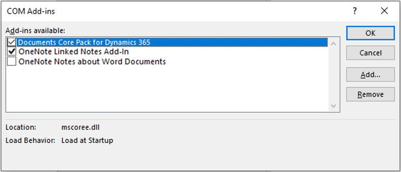 Enable DCP in the COM Add-ins window