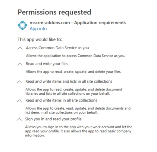 Permissions requested