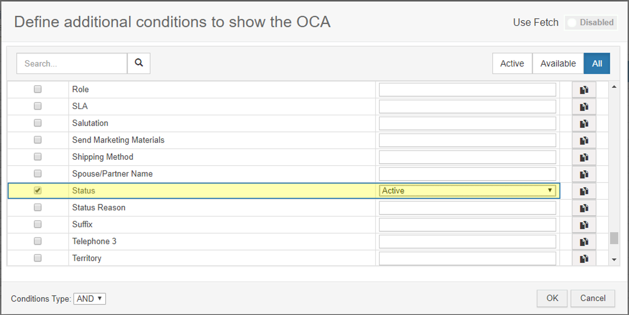 Define additional conditions to show the OCA