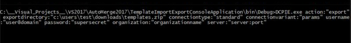 Syntax to export templates