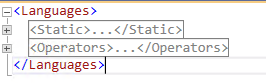 "XML main areas ""Static"" and ""Operators"""